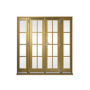 Image of Wickes Albery Georgian Bar Solid Oak Laminate French Doors 7ft with 2 Side Lites 300mm