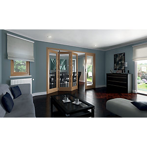 Wickes Ashton Internal Folding Door Oak Veneer Glazed 1 Lite 4 Door 2047 x 2545mm