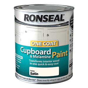 Ronseal One Coat Cupboard & Melamine Paint - Ivory Satin 750ml