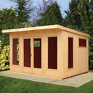 Shire Chequers Modern Double Door Summerhouse - 12 x 10 ft