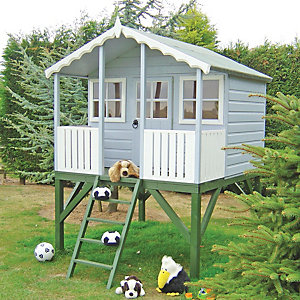 Shire 6 x 6ft Wooden Elevated Wooden Children's Playhouse with Veranda
