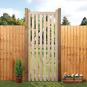 Image of Wickes Open Slatted Tall Timber Gate Kit - 990 x 1829 mm