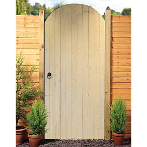Image of Wickes Ledged & Braced Arched Top Timber Gate Kit - 990 x 1981 mm