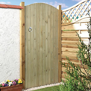 Image of Wickes Ledged & Braced Arched Top Timber Gate - 915 x 1829 mm