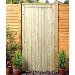 Image of Wickes Framed Ledged & Braced Flat Top Timber Gate - 915 x 1829 mm