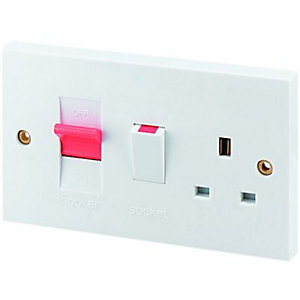 Wickes 45 Amp Cooker Control Socket - White