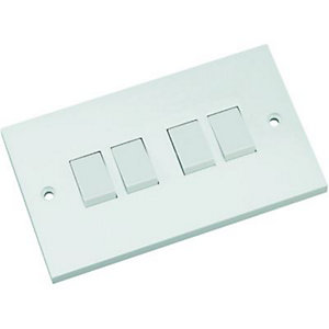 Wickes 10 Amp 4 Gang 2 Way Light Switch - White