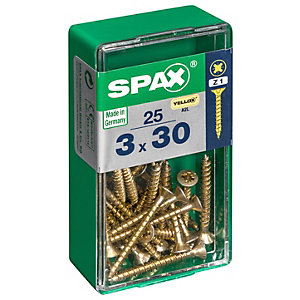 Spax PZ Countersunk Zinc Yellow Screws - 3 x 30mm Pack of 25