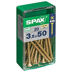 Spax PZ Countersunk Zinc Yellow Screws - 3.5 x 50mm Pack of 20