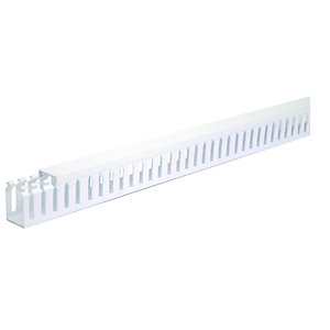 Wickes Self-Adhesive Slotted Trunking - White 28 x 38mm x 2m