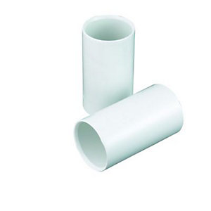 Wickes Straight Coupling - White 25mm Pack of 2