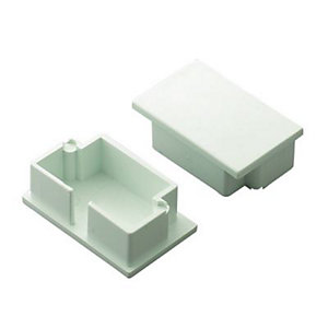 Wickes Mini Trunking End Cap - White 38 x 25mm Pack of 2