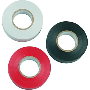 Wickes Electrical Insulation Tape - Assorted Colours 20m Pack of 3