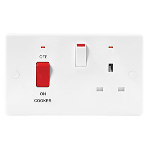 Wickes 45 Amp Cooker Control with Neon Slimline - White