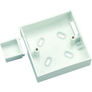 Wickes 1 Gang Cut-Out Pattress Box & Adaptor - White 32mm