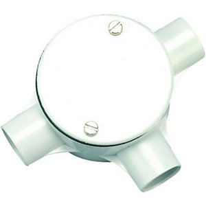 Wickes 3 Way Tee Junction Box - White 20mm