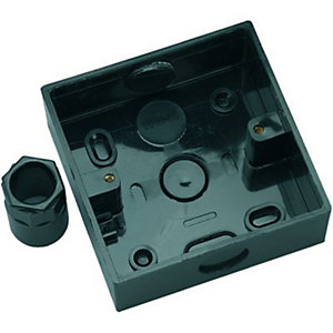 Wickes 1 Gang Pattress Box & Adaptor - Black 32mm