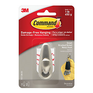 Command Brushed Nickel Metal Small Hook