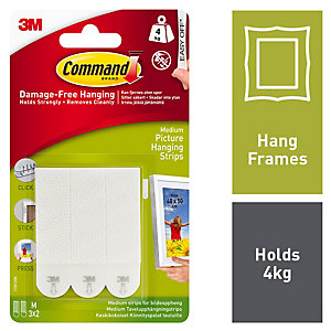 Command White Medium Picture Hanging Strips - 3 Pairs