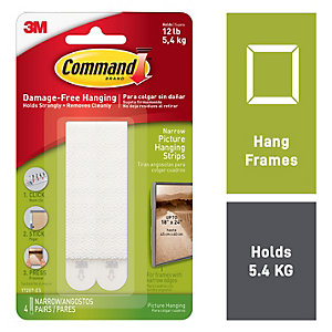 Command White Narrow Picture Hanging Strips - 4 Pairs