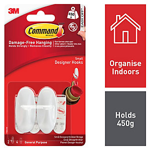 Command White Small Designer Hooks - Pack of 2