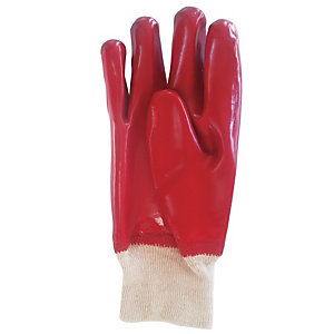 Wickes Red PVC Gloves - One Size