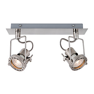 Wickes Studio LED Brushed Chrome 2 Bar Spotlight - 2 x 5.3W