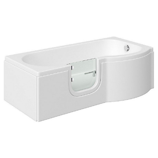 Wickes Concert P-Shaped Right Hand Easy Access Bath