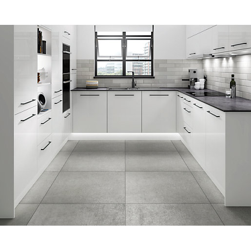 Wickes Boutique Andora Grey Glazed Porcelain Wall &