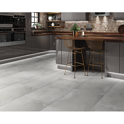 Wickes Boutique Memphis Grey Glazed Porcelain Floor Tile