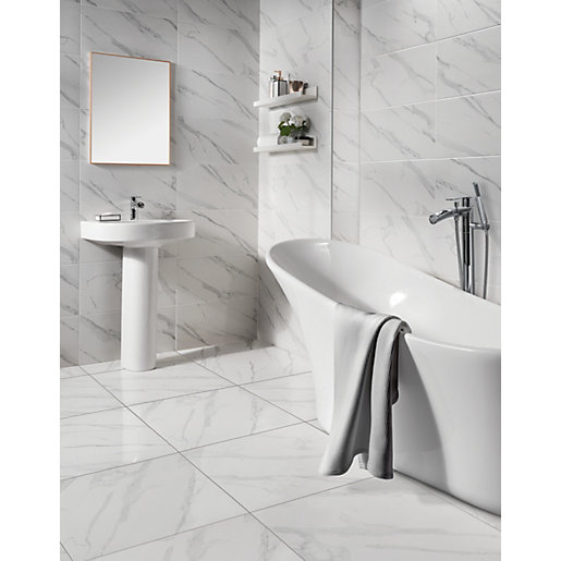 Wickes Calacatta Gloss White Marble Effect Glazed Porcelain