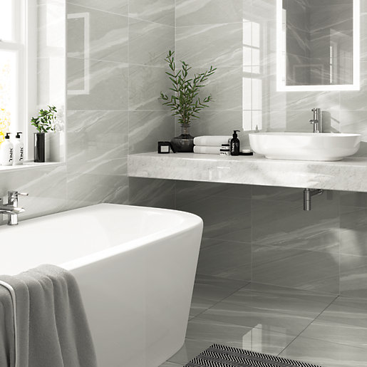 Wickes Olympia Grey Polished Sandstone Porcelain Wall Floor Tile 600 X 300mm Wickes Co Uk