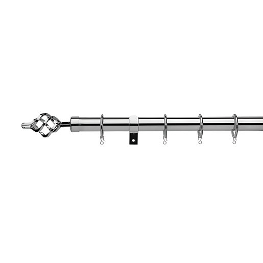 Universal Curtain Pole with Cage Finials - Chrome