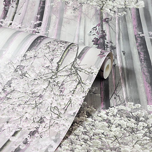 Arthouse Blossom Forest Dusky Pink Wallpaper 10.05m x