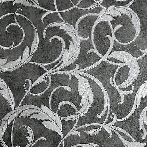 Arthouse Luxe Scroll Grey & Silver Wallpaper 10.05m