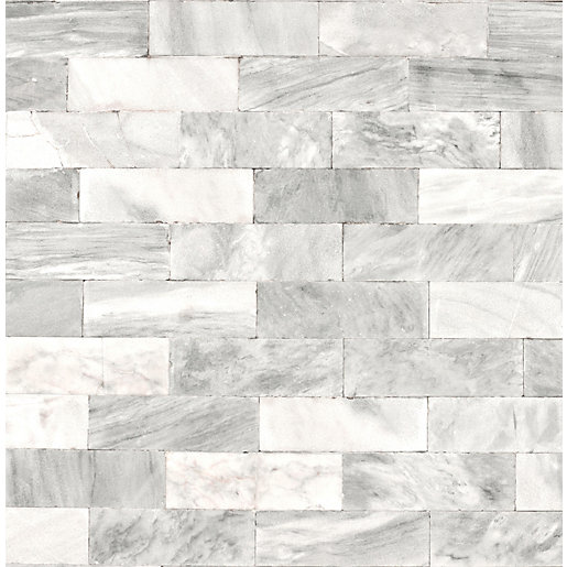 Superfresco Easy Herringbone Marble Tile Decorative Wallpaper -