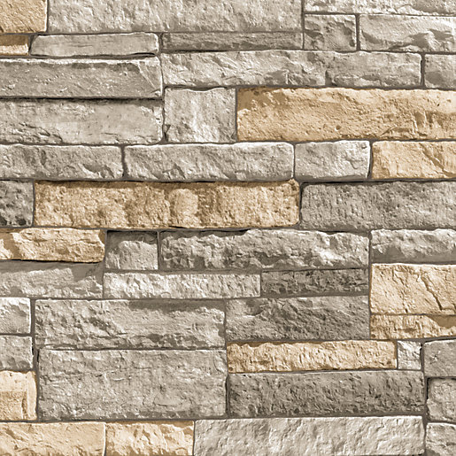 Superfresco Easy Ledgestone Grey/Terracotta Decorative Wallpaper