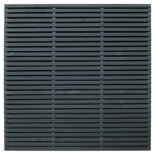 Forest Garden Double Slatted Grey Fence Panel 6