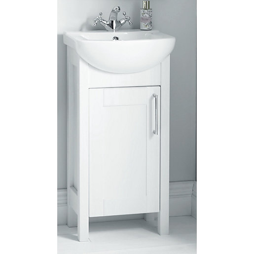 Wickes Frontera White Gloss Freestanding Vanity Unit With Basin Wickes Co Uk