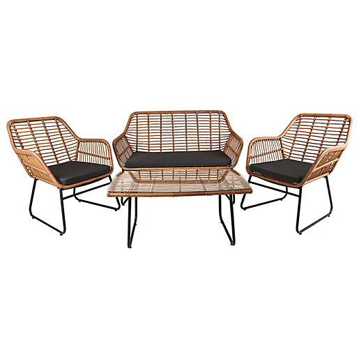 Charles Bentley Natural Wicker 4 Seater Lounge Set