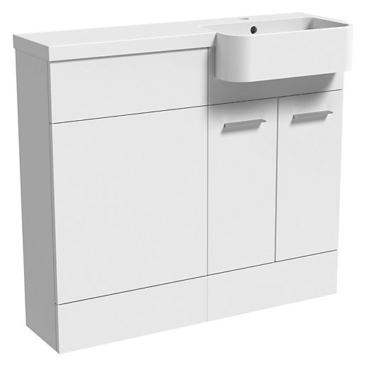 Wickes Geneva White P Shaped Left Hand Freestanding