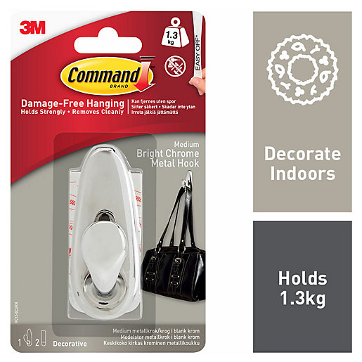 Command Bright Chrome Metal Medium Hook