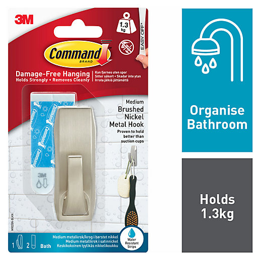 Command Brushed Nickel Metal Medium Bath Hook