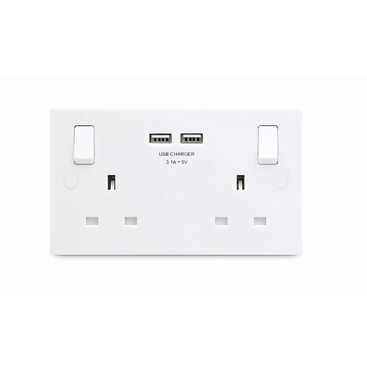 BG White Moulded Slimline Double Switched 13A Power