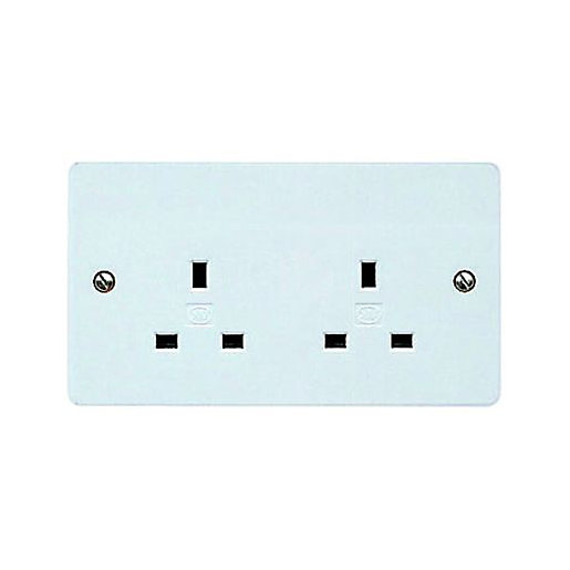 MK 13 Amp Unswitched Twin Socket - White