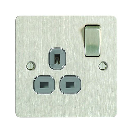 Wickes 13A Single Switched Ultra Flat Plate Socket