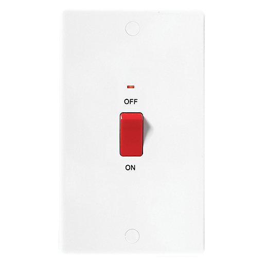 Wickes 45A Control Switch 2 Gang Slimline White