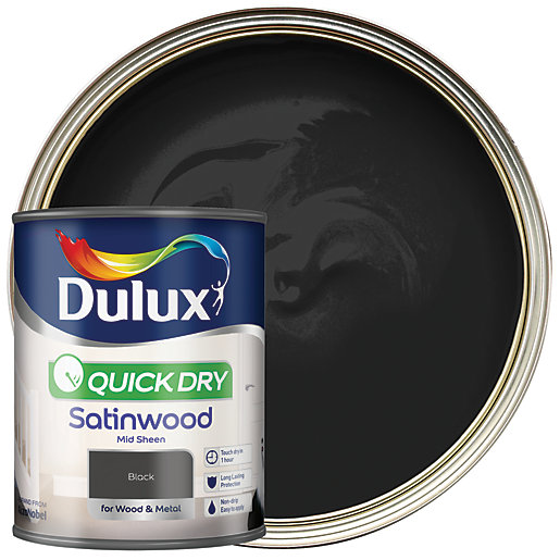 Dulux Quick Dry Satinwood Paint - Black 750ml