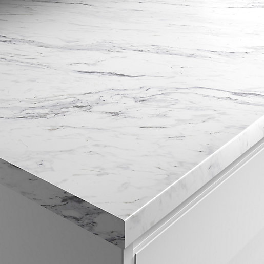 Wickes Matt Laminate Worktop - Calcutta Marble 600mm