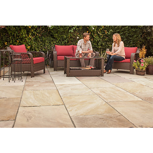 Marshalls Indian Sandstone Riven Brown Paving Slab Mixed